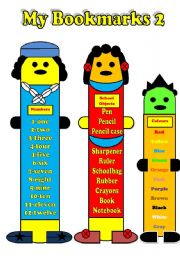 English Worksheet: My Bookmarks-Numbers, school objects, Colours+ B&W version