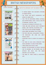 English Worksheet: BRITISH NEWSPAPERS - BROADSHEETS + TABLOIDS