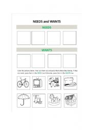 Worksheets Needs And Wants Worksheets english teaching worksheets needs and wants wants