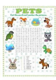 English Worksheets: WORD SEARCH (PETS) AND NUMBER THE PICTURES
