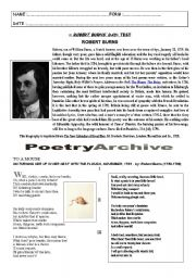English Worksheets: robert burns and his poetry : test (Special Days - step 22 : Robert Burn�s Day)