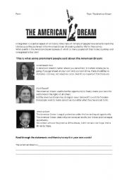 English Worksheets: The American Dream