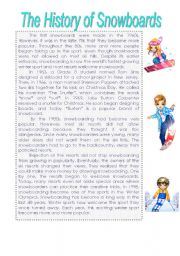 English Worksheet: The history of snowboards. Reading test.