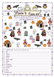 English Worksheets: Halloween - There is ~ There are