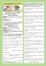 English Worksheet: LET´S PRACTISE RELATIVE CLAUSES!