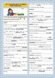 English Worksheet: LET´S PRACTISE PARTS OF SPEECH-WORD FORMATION