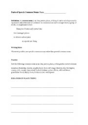 English Worksheets: parts of common speech
