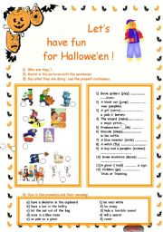 English Worksheets: let�s have fun for Hallowe�en !