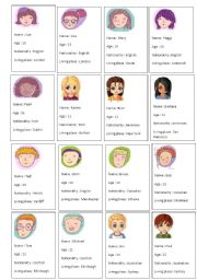 English Worksheet: who´s who game