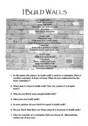 English Worksheet: Poem: I Build Walls