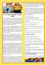 English Worksheet:  TEENS AND TECHNOLOGY-ONE IN 12 TEENS ADDICTED TO VIDEO GAMES- +SPEAKING