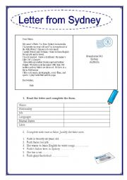 English Worksheet: Letter from Sydney