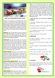 English Worksheets: CHRISTMAS-WHAT DO YOU KNOW ABOUT SANTA?-READING +SPEAKING+WRITING