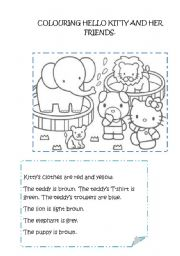 English Worksheet: Colouring Hello Kitty and her friends
