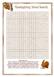 English Worksheet: Word search for Thanksgiving