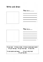 English Worksheets: Write and draw the animals