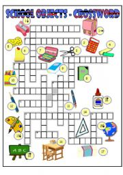 English Worksheet: School objects crossword (BW + key)