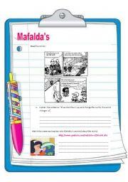 English Worksheet: Mafalda changes the world