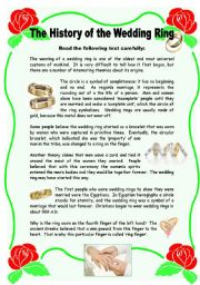 English Worksheet: The History of the Wedding Ring - 2 pages + key