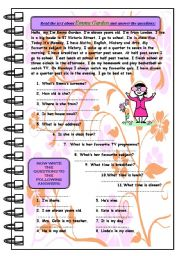 English Worksheets: Reading comprehension + exercises