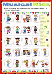 English Worksheet: Musical Kids  -  vocabulary exercise