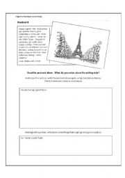 English Worksheet: Postcard Writing and Travel Complaints Activity