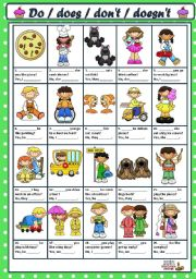 English Worksheet: ASKING AND ANSWERING QUESTIONS WITH DO / DOES / DON�T / DOESN�T