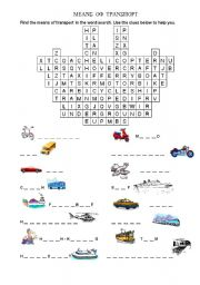 English Worksheet: Means of transport (word search)
