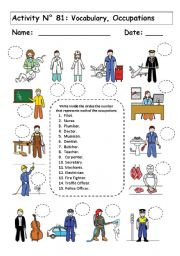 English Worksheets: VOCABULARY:  OCCUPATIONS