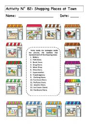 English Worksheet: SHOPPING PLACES AT TOWN