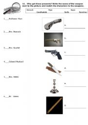 English Worksheets: Clue the movie part II