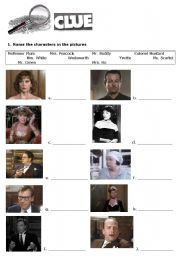 English Worksheets: Clue the movie part I