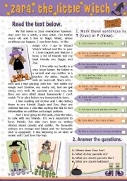 English Worksheet: ZARA, THE LITTLE WITCH