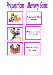 English Worksheet: Memory Game --> Prepositions -- Part  01