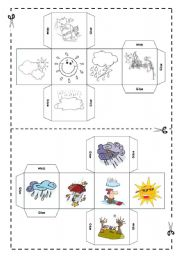 English Worksheet: Weather DICE - FULLY EDITABLE