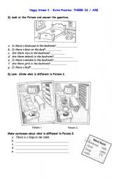 English Worksheets: Thre is / are