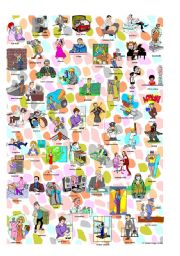 English Worksheet: I spy occupations poster 2 and new criss cross worksheet: words and pictures