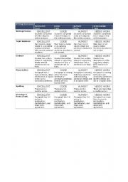 English Worksheet: Writing Assessment Rubric