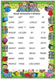 English Worksheets: HIGH FRECUENCY WORDS
