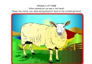 English Worksheets: Animals of Farm