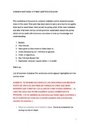 English worksheet: First Certificate common errors