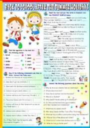 English Worksheets: BACK TO SCHOOL- READING AND COMPREHENSION + PRESENT SIMPLE (B&W + KEY INCLUDED)