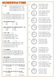 English Worksheets: NUMBER & TIME
