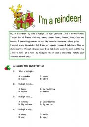 English Worksheets: Reindeer reading comprehension