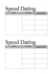 Speed dating activity classroom