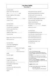 English Worksheets: Hey There Delilah - Lyrics and Follow-up writing tasks