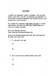 English Worksheets: Cliches
