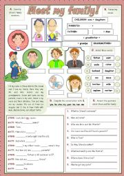 English Worksheets: MEET MY FAMILY!