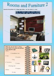 English Worksheet: Rooms and Furniture 2 - Living room
