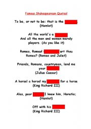 English Worksheets: Famous Shakespearean Quotes